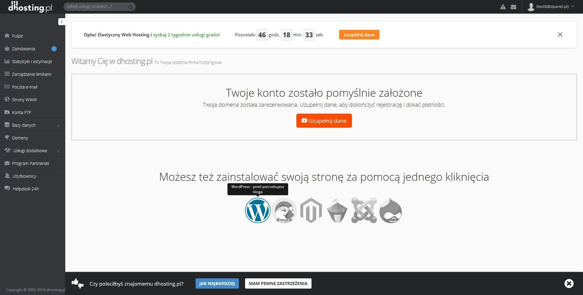 Ekran powitalny panelu administracyjnego firmy hostingowej dhosting zaraz po zarejestrowaniu nowego konta hostingowego