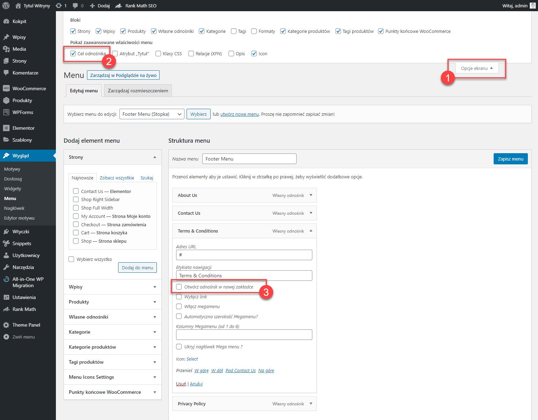 Jak otwierać linki menu w nowej zakładce przeglądarki