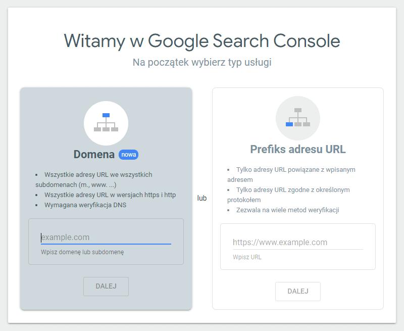 Jak wygląda ekran powitalny Google Search Console, gdzie można dodać nazwę domeny strony internetowej
