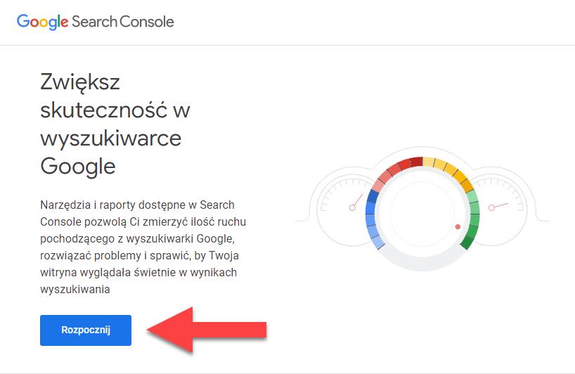 Strona główna Google Search Console gdzie można zarejestrować darmowe konto w usłudze Search Console