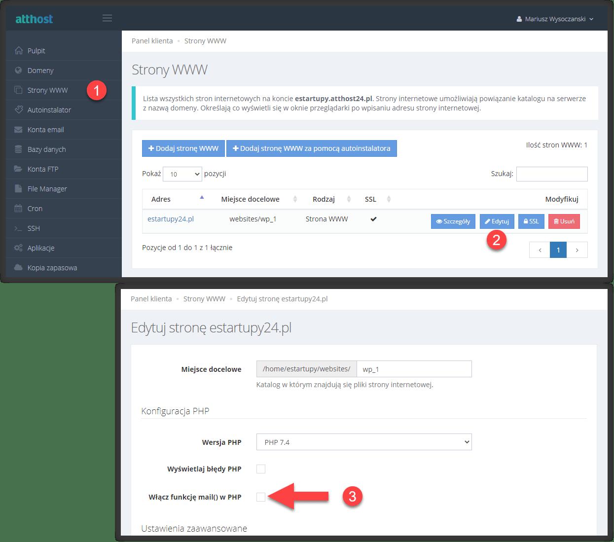 Jak włączyć funkcję mail() na hostingu atthost, gdy WordPress nie wysyła maili z formularza kontaktowego.
