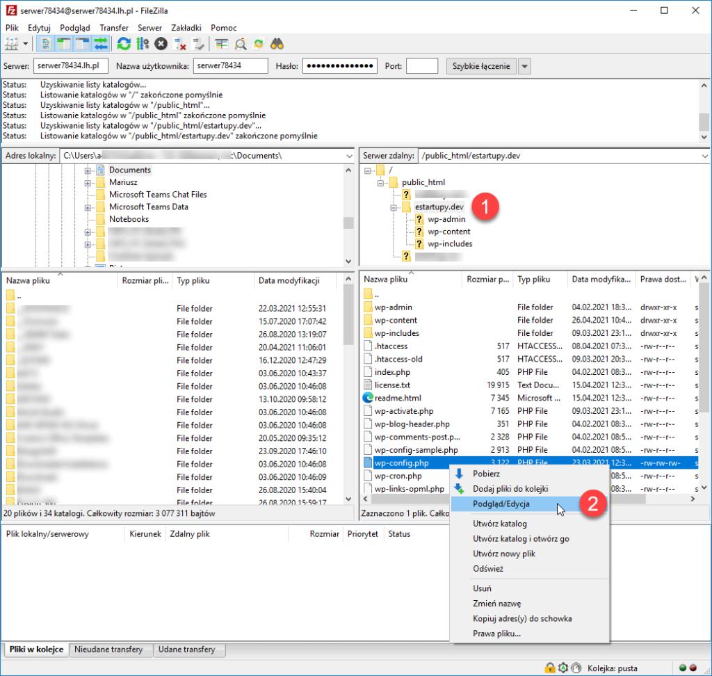 Edycja pliku wp-config za pomoca klienta FTP FileZilla