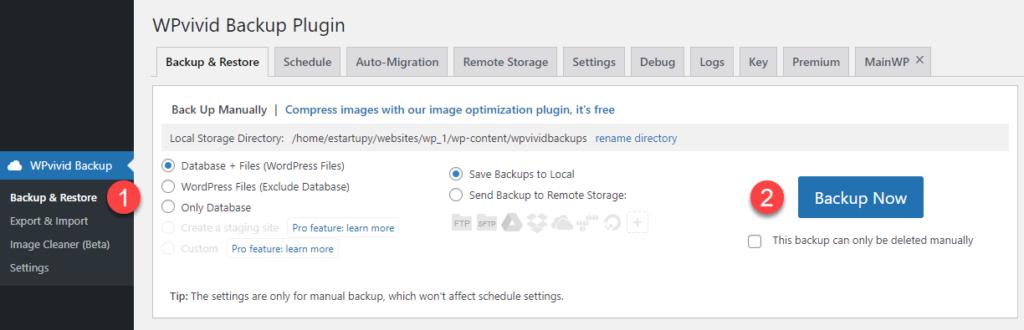 Obraz pokazujący tworzenie kopii zapasowej WordPress wtyczką WPvivid krok po kroku