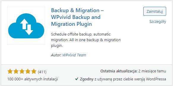 Widok wtyczki WPvivid Backup w repozytorium WordPressa