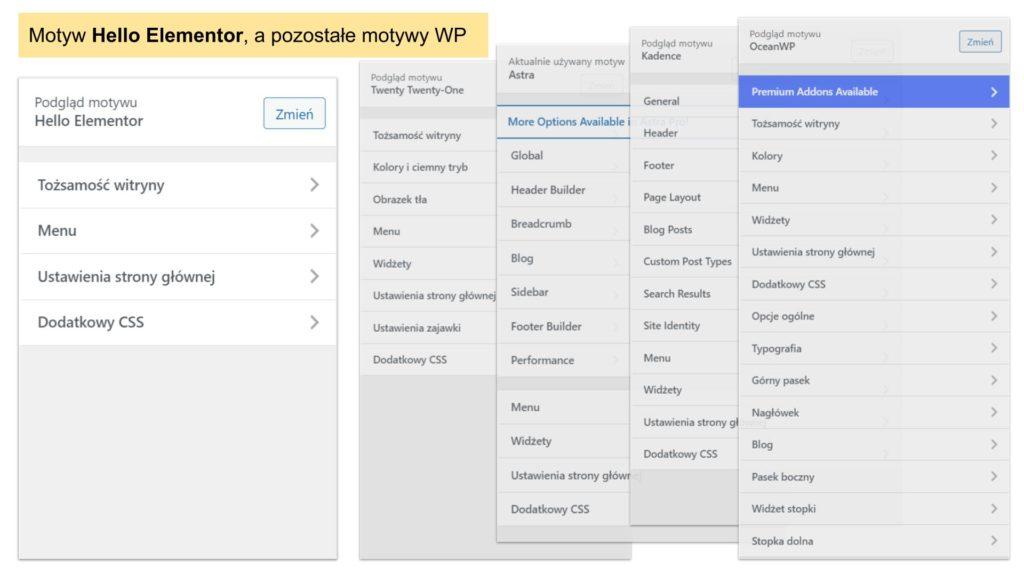 Lista opcji w panelu Dostosuj w motywie Hello Elementor dla WordPress