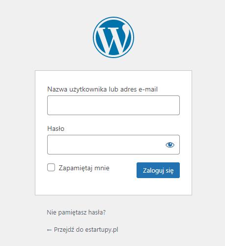 Wygląd formularza logowania się do konta na stronie WordPress