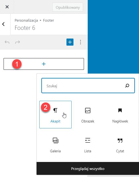 Edycja Widgetu w stopce strony WordPress