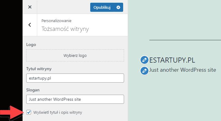 Jak usunąć tytuł witryny i slogan ze strony wordpress