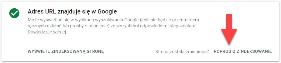 Komunikat Google Search Console Adres URL znajduje się w Google