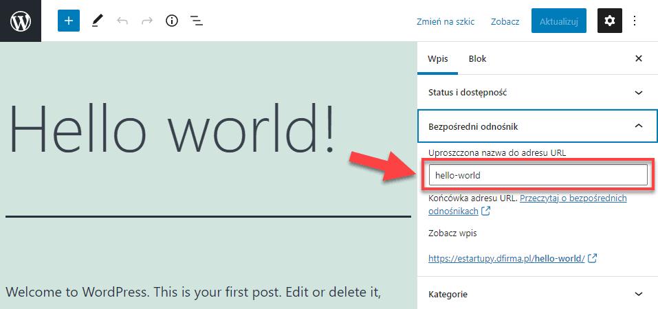 Jak zmienić adres URL (link) do strony lub wpisu