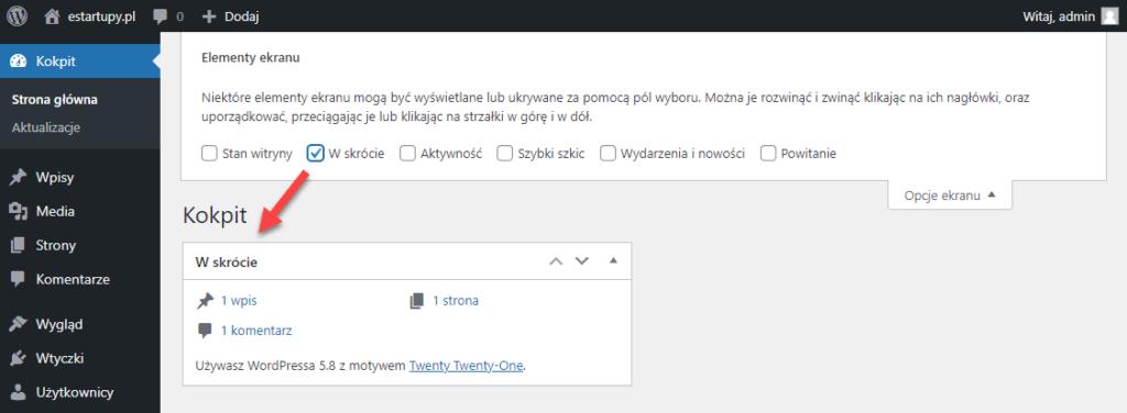 Widok zakładki Opcje ekranu, pozwalającej na konfigurację zawartości kokpitu WordPress