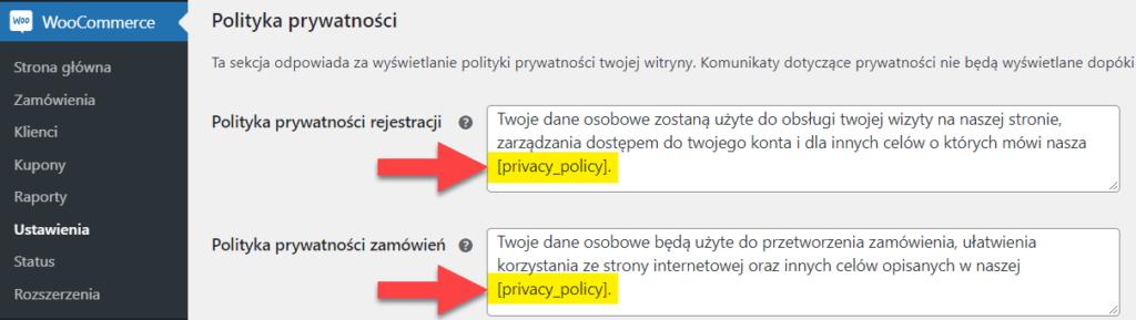 Gdzie zmienia się tekst polityki prywatności w WooCommerce