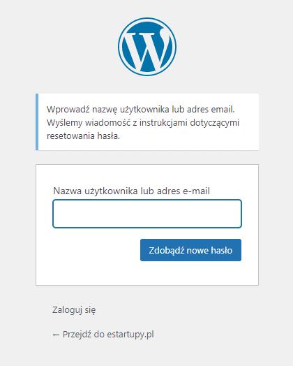 Wygląd formularza do resetowania hasła do konta użytkownika w WordPress