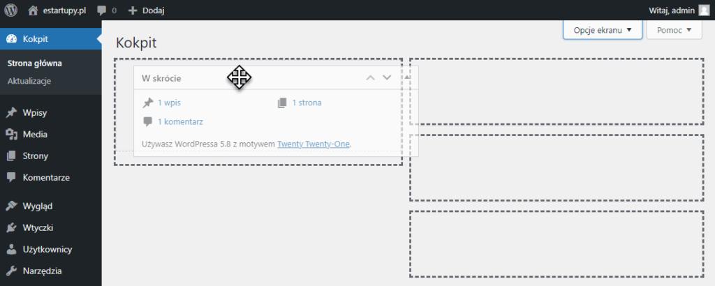 Widok przeciąganej karty na stronie głównej Kokpitu nawigacyjnego w panelu administracyjnym WordPress