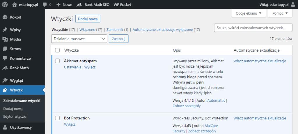 Lista wtyczek zainstalowanych na stronie estartupy