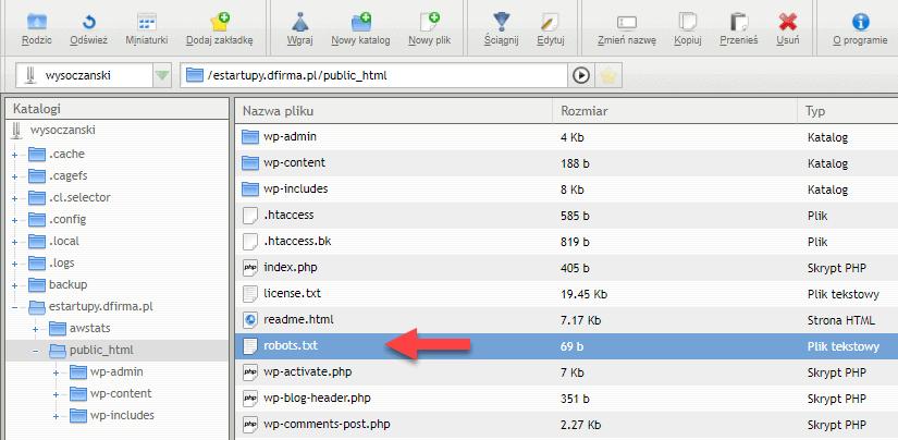 Manager plików z zaznaczonym miejscem, gdzie jest plik robots.txt